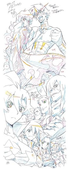 """Key-animation frame by Tadashi Hiramatsu (平松 禎史) from the final episode of Gurren Lagann (天元突破グレンラガン) : """"The Lights in the Sky are Stars"""" ! Storyboarded by Hiroyuki Imaishi (今石 洋之)."""