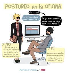 """B1/C2 - ¿Hablamos de los hábitos en el trabajo? ¿Cómo es en tu país? """"Postureo en la oficina"""", viñeta de Raquel Córcoles (Moderna de Pueblo)."""