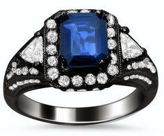 2.10ct Emerald Cut Blue Sapphire and Diamond Ring 18k Black Gold