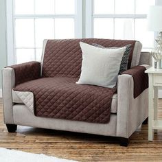 Sweet Home Collection Luxury Pet Dog Reversible Loveseat and Small Sofa Slipcover Upholstery: Chocolate/Beige