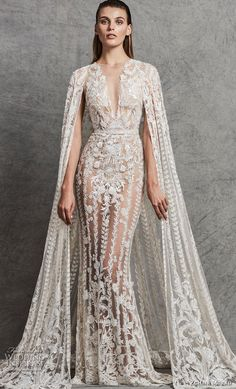 zuhair murad fall 2018 bridal sleeveless illusion bateau deep v neck full embellishment glamorous elegant fit and flare sheath wedding dress with cape sweep train (4) mv -- Zuhair Murad Fall 2018 Wedding Dresses #wedding #bridal #weddings