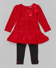 Look at this Red Rhinestone Skirted Tunic
