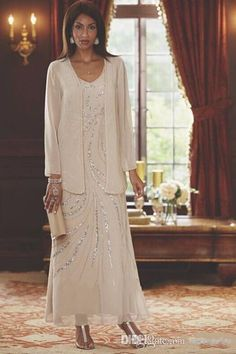 2017 Ankle Length Chiffon Mother Of The Bride Groom Dress With Long Sleeve Jacket A Line V Neck Beading In Plus Size Jessica Howard Mother Of The Bride Dresses Kleinfelds Mother Of The Bride Dresses From Newdeve, $123.87| Dhgate.Com