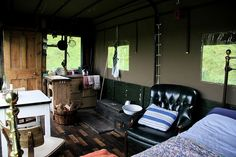The Beer Moth is a converted 1956 Fire Service truck whose flatbed has been made into a very unique guest vacation rental room. The room accommodates two, has its own wood-burning hearth and lives on the Inshriach House grounds in Inverness-shire, Scotland.