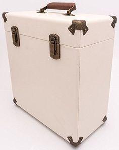 Cream and Tan Record Case 12  Vintage Style Storage DJ Carry Flight Box Vinyl LP