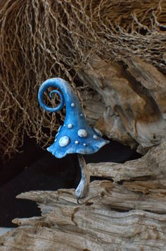Rustic blue white  fairy garden fantasy mushroom  ,polymer clay toadstool Home decor,Fairy Garden