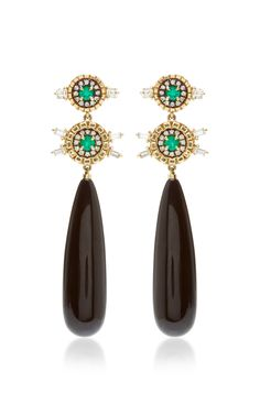 18K Gold Onyx, Emerald and Diamond Earrings by Jemma Wynne - Moda Operandi