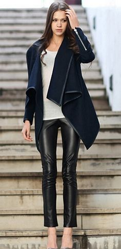 Black O-Neck Long Sleeve Asymmetric Long Zipper Woolen Overcoat Jacket