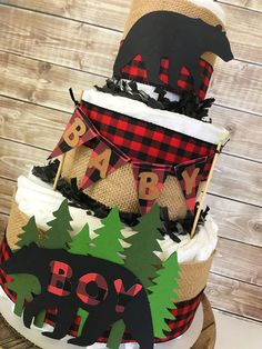 Lumberjack Diaper Cake, Lumberjack Baby Shower Centerpiece, Buffalo Check Baby Shower Decor by AllDiaperCakes on Etsy Baby Shower Decorations For Boys, Baby Shower Centerpieces, Baby Shower Themes, Shower Ideas, Cake Centerpieces, Cake Decorations, Baby Shower Diapers, Baby Boy Shower, Baby Shower Gifts