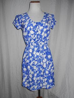 Kimchi Blue Button Front Blue White Floral Front Button Up Dress Sz S EUC #KimchiBlue #FrontButtonUpDress #Casual