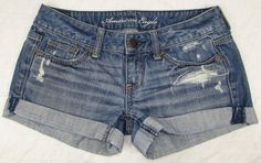 Women American Eagle Micro Jean Shorts Distressed Destroyed Low Rise sz 0