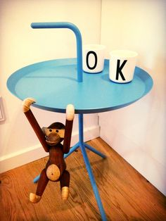 Design Letters cups with typography by Arne Jacobsen together with Kay Bojesen monkey.  www.designletters.dk