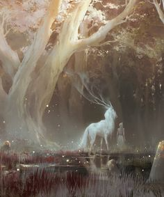 the feywild kunst art Fantasy Artwork, Fantasy Paintings, Anime Kunst, Anime Art, Mythical Creatures Art, Forest Creatures, Magical Creatures, Fantasy Inspiration, Fantasy Landscape