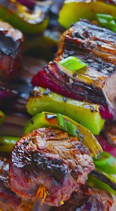 Asian Pepper Steak Kabobs ♥ Gimme Some Oven Kabob Recipes, Grilling Recipes, Gourmet Recipes, Beef Recipes, Cooking Recipes, Healthy Recipes, Cooking Fails, Grilling Ideas, Recipies
