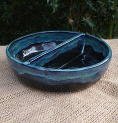 Divided serving dish hand thrown in stoneware by CaractacusPots, £17.99