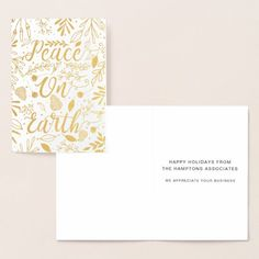 Gold Luxe Peace on Earth Corporate Holiday Foil Card | Zazzle.com