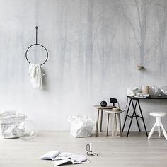 tapisserie bois dans brume