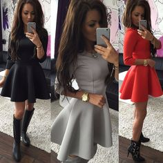 09a73e861b6c52 New Sexy Women Casual Long Sleeve Party Evening Cocktail Short Mini Dress  Skater. eBay. Dress OutfitsFormalne ...