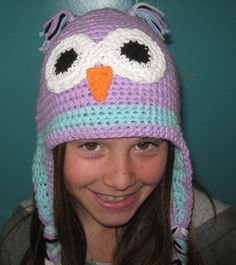 Owl Hat With Ear Flaps Made To Order by InChains on Etsy, $24.00