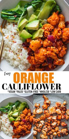 This Orange Cauliflower is the ultimate sweet and spicy vegan version of Orange Chicken! Crispy roasted cauliflower florets are covered in a homemade orange sauce, then served over cauliflower rice and sautéed bok choy. Gluten-free, grain-free, paleo, Whole30 and low carb. Healthier, quicker and easier than takeout! #vegan #whole30 #lowcarb #glutenfree #orangechicken Bhg Recipes, Whole 30 Recipes, Side Dish Recipes, Lunch Recipes, Easy Dinner Recipes, Vegetable Recipes, Asian Recipes, Chicken Recipes, Vegetarian Recipes