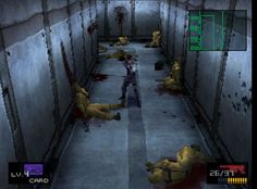 Vertical placement is an organizational tool that also helps give the illusion of space. Objects that are vertically higher are seen as farther away, while closer objects appear lower. This still from Metal Gear Solid features a hallway with bodies that are placed on a vertical scale to give the sense of the hallway receding into the distance. Art by Yoji Shinkawa.