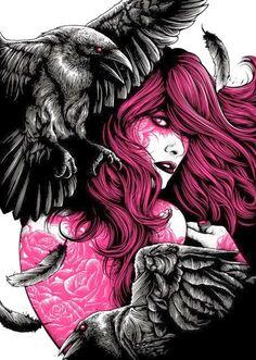 Dan Mumford Rose Print for Skull & Heart Kickstarter Project Crow Art, Raven Art, Arte Horror, Horror Art, Dark Fantasy Art, Dark Art, Illustrations, Illustration Art, Dan Mumford
