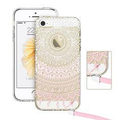 iPhone SE Case, ESR iPhone SE Hybrid Case [Shock Absorbing] TPU Bumper +[Scratch Resistant] Hard Back Cover Clear with Design [Totem Series]Protective Case for iPhone SE / iPhone 5S/ 5 (Pink Manjusak)