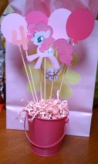 my little pony birthday party - table topper, Easter paper, basket, skewers