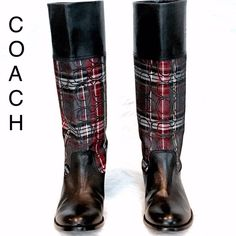 COACH Chrissi Tartan Plaid & Leather Boots - 8B Stunning authentic Coach tartan plaid and black leather 'Chrissi' boots, size 8 B.  Excellent condition!! Price  is ‼️firm‼️ Coach Shoes
