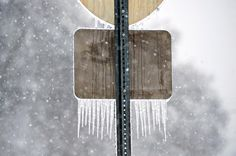 The back of a road sign is coated with trails of ice as snow falls, Friday morning on Jan, 22, 2016, in Bowling Green, Kentucky.