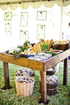 Farm stand appetizer stations! I like this idea for my garden wedding