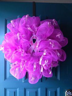 Breast cancer deco mesh wreath