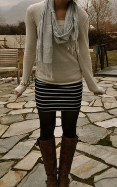 Scarf, sweater, black and white striped skirt, black tights, brown boots. Cute fall outfit.