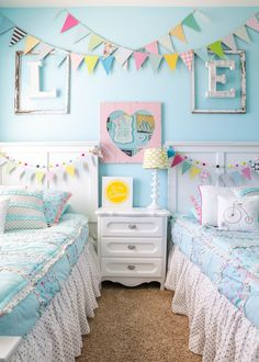 Girls Room Makeover A fun and bright girls bedroom makeover along with tips and decorating ideas for kids' rooms to help your create the perfect space for your child!