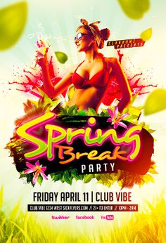 Spring Break Party Flyer Template - http://www.ffflyer.com/spring-break-party-flyer-template/ Spring Break Party Flyer Template  Spring break is the quintessential all-American party time of the year. The winter cold is dying down and it's the first big break from studying you've had since the end of year holidays.  #Beach, #Club, #Dance, #Dj, #Electro, #House, #Lounge, #Luxury, #Minimal, #Party, #Pool, #Summer, #Sun