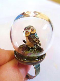 Curious Owl Ring. Miniature Grass Animal Snow Globe Pyrex Farm Moss organic jungle woodland fairy magic mushroom feathers 1970s.  via Etsy.