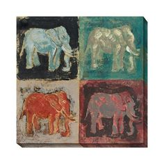 Elephant Canvas Wall Art ($199) ❤ liked on Polyvore featuring home, home decor, wall art, elephant home accessories, elephant home decor, elephant wall art, outside wall art and oversized abstract wall art