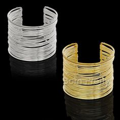 $4.54 1Pc Multilayer Strings Wristband Bangle Opening Bracelet Jewelry Decoration Gold/Silver - BornPrettyStore.com
