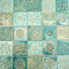 turquoise mix tiles, original tiles, decoration - Made to order. Shipping takes about 4 weeks from the date of - Tuile Turquoise, Turquoise Tile, Ceramic Pottery, Ceramic Art, Slab Pottery, Ceramic Bowls, Casa Petra, Painting Tile Floors, Unique Tile