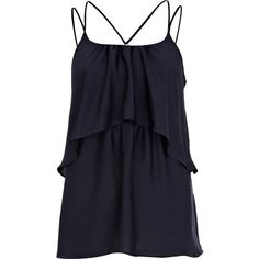River Island Navy layered multi strap cami top ($16) ❤ liked on Polyvore featuring tops, shirts, tank tops, tanks, dresses, sale, navy blue tank top, navy tank, spaghetti strap shirt and navy blue tops