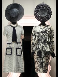 On the left wearing: 1950s Guy Laroche dress, 1950s daisies necklace, 1970s golden belt with strass, 1980s Florentine straw hat.    Outfit on the right: 1980s Lanvin silk suit, 1980s Vogue Bijoux necklace, 1950s American straw hat.