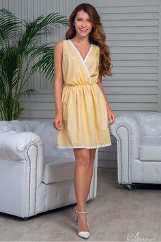 Літня сукня у горошок з мереживом • колір: жовтий • інтернет магазин • vilenna.ua