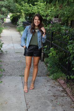 Denim Jacket + Leather Shorts on Glitter & Gingham