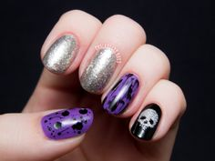 Pop Punk Skittlette with Glittery Skull and Distressed Accents via @Chalkboard Nails