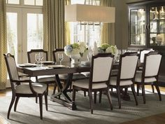 """""""Kensington Place"""" collection, Westwood Rectangular Dining Table with Upholstered Host Chair and Side Dining Chairs  - Lexington Home Brands Furniture"""