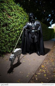 Darth walking his doggy
