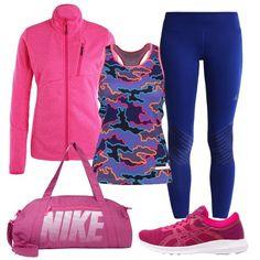 Una tenuta per il fitness colorata per dare la carica riprendendo gli allenamenti. Canotta aderente multicolor, leggings blu, felpa con cerniera, borsone e sneakers nei toni del fucsia e rosa shocking.