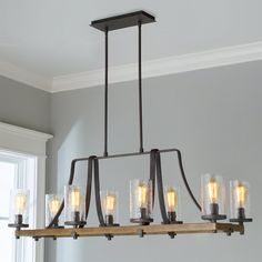 Chandelier at dining table - Industrial Farmhouse Wavy Glass Island Chandelier - 8 Light slate_gray_metal Farmhouse Light Fixtures, Farmhouse Chandelier, Dining Room Light Fixtures, Kitchen Chandelier, Rustic Chandelier, Farmhouse Lighting, Dining Room Lighting, Rustic Lighting, Home Lighting