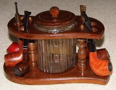 Vintage Pipe Stand and Tobacco Pipes