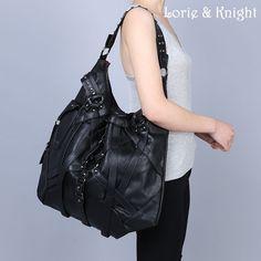 64.84$  Buy here - http://ali2e6.worldwells.pw/go.php?t=32570481398 - Large Capacity Black PU Leather Strap Belt Rivet Steampunk Rock Womens Single Shoulder Bag Vintage Gothic Fashion Bag 64.84$